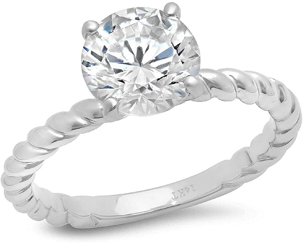 Clara Pucci Ranking TOP9 Outlet SALE 2ct Round Cut Solitaire Rope Knot Moissanite Twisted