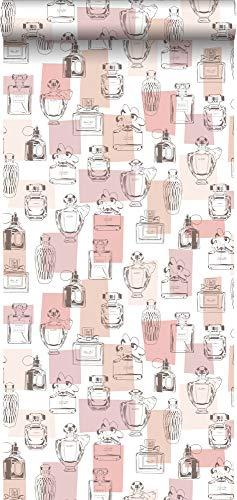 behang parfum flesjes glanzend perzik roze - 138854 - van ESTAhome
