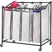 Sagler 4 Bag Laundry Hamper with Wheels Rolling Laundry cart Heavy Duty Laundry Sorter Removable, Chrome/White Laundry Organizer