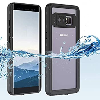 Samsung Galaxy note 8 Waterproof Case Shockproof Dustproof Snowproof Hard Shell Full-Body Underwater Protective Box Rugged Cover and Built in Screen Protector for Galaxy note 8  Black