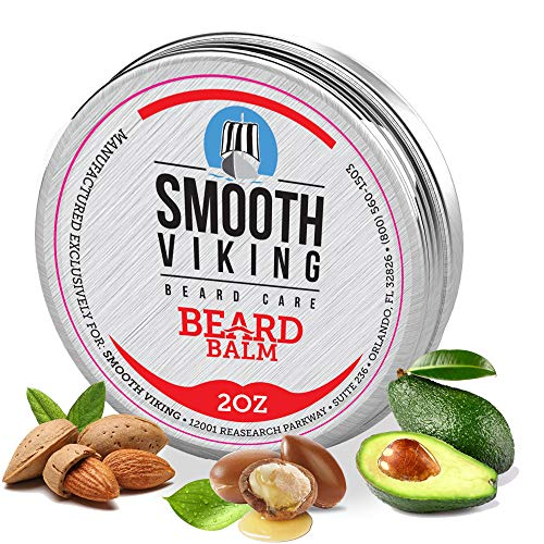 Beard Balm - 100% Natural Heavy Duty Leave In Conditioner - Style and Thicken Your Beard While Strengthening It. - With Mango Butter, Shea Butter, Beeswax, Avocado Oil, Sweet Almond Oil, Argan Oil, Castor Oil, and Pure Essential Oil by Smooth Viking by Smooth Viking