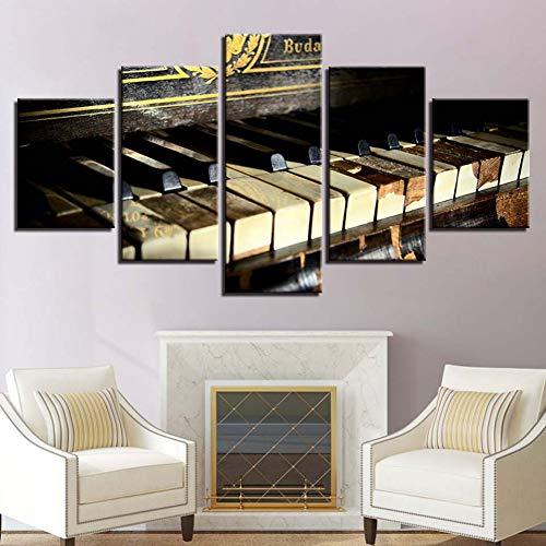 GIAOGE schilderij canvas schilderij muurkunst lijst 5 panelen piano instrument muziek abstracte foto's voor woonkamer wooncultuur modulaire posters Frame 40x60 40x80 40x100cm
