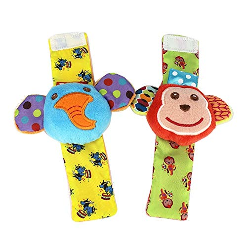 Deerbb 2 Pack Wrist Bell Shake Elephant Mokey Watch Band Wind Chime for Crib Stroller Bed Hanging Rattle Newborn 0 1 3 6 Months Year Old Toddler Infant Car Seat Toy (Wrist Bands Ring The Bell)