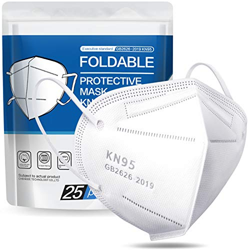 KN95 Face Mask - 25 Pack KN95 Disposable Masks, 5-Ply Protection Cup Dust Mask Efficiency≥95% Against PM2.5 Dust Pollen and Haze-Proof White