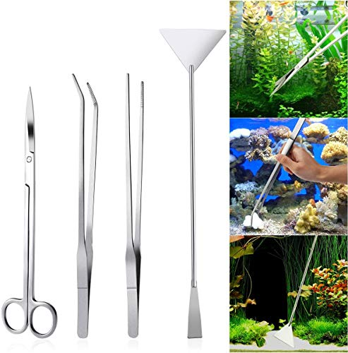 Edelstahl Aquarium Behalter Wasserpflanze Pinzette und Scheren Spatel Werkzeug Kit, Edelstahl Aquarium Aquascaping Kit, 3 Stück