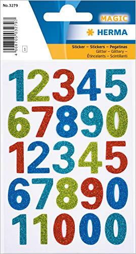 HERMA 3279 Zahlen Aufkleber 0 - 9 mit schimmerndem Glitter (Schriftgröße 20 mm, 1 Blatt, Folie) selbstklebend, permanent haftende Ziffern Sticker, 25 Etiketten, bunt