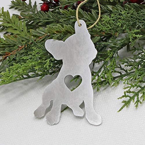 French Bulldog Christmas Ornament Aluminum Metal Tree Holiday Party Decorations Decor Gift Dog
