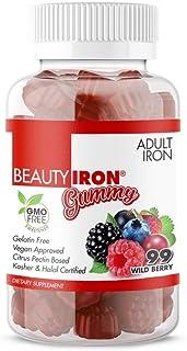 BeautyFit BeautyIron Gummy Vitamins Iron Supplement for Women, Vegan-Approved, Gelatin-Free, 99 Count