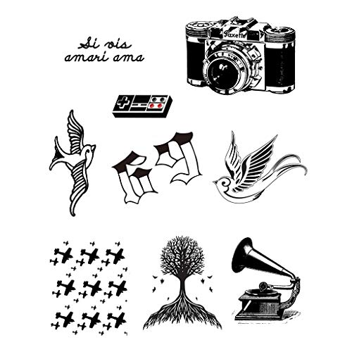 CARGEN Classic Black Temporary Tattoo Literature Temporary Tattoos Script Tattoos Fake Tattoos Realistic Waterproof Bird 69 Words Lines Tattoos for Ad
