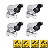 Phot-R Lot de 4 caméras de Surveillance factices à LED Clignotantes à énergie Solaire pour extérieur et intérieur avec Autocollant d'avertissement Blanc