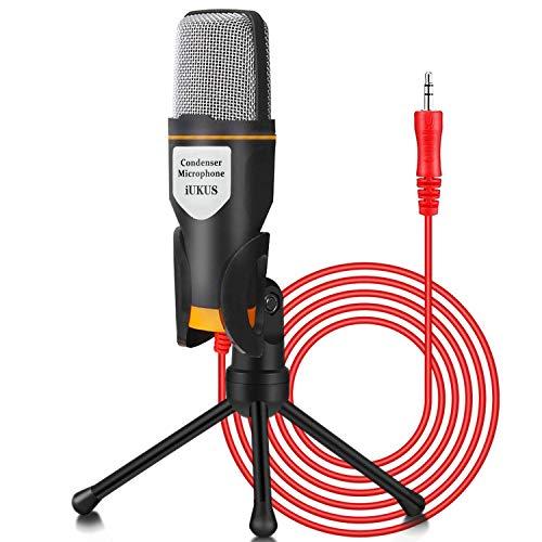 Micrófono de PC IUKUS con soporte de micrófono, micrófono de condensador de grabación profesional de 3,5 mm compatible con PC, portátil, iP@d, iPh0ne, M@c-Recorder Singing YouTube Skype Gaming