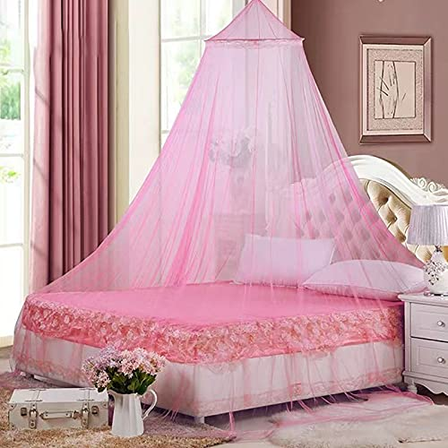 Aimilaly Round Lace Bed Canopy Mosquito Net Curtains, Princess Dome Netting - Insect Protection Hanging Canopy for Adults, Babies, Outdoor Camping, Pink