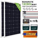 ECO-WORTHY 240W 12V Sistema solar completo con batería e inversor - 2 piezas Paneles solares de 120W + Controlador de carga 20A + 2 piezas Baterías 100AH 12V + Inversor 1000W 12V-220V