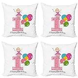 ABAKUHAUS Cumpleaños Set de 4 Fundas para Cojín, Los Mejores Deseos Rosa Wand, Estampado Digital en Ambos Lados y Cremallera, 60 cm x 60 cm, Pálida Rosa y Lila