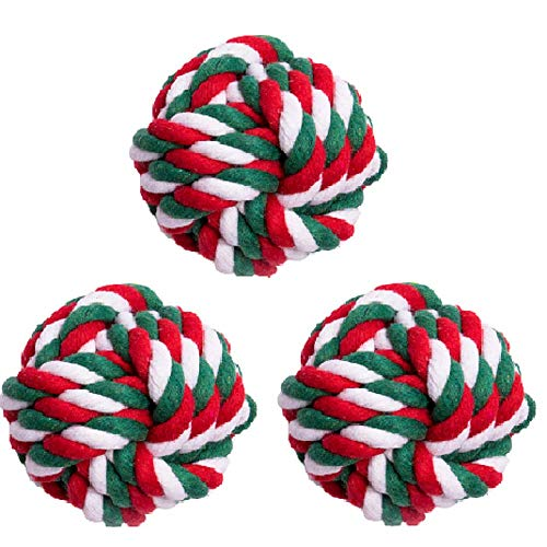 Wellbro Dog Rope Toy, Christmas Puppy Teething Toys with Knots, Cotton Rope Dog Chew Toy for Puppies, Small and Medium Dogs Interactive Play and Flossy Teeth Cleaning (Christmas Ball)