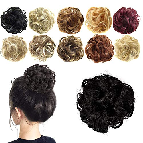 4 Pack Synthetic Messy Curly Hair Bun Hairpiece Extensions for Women and Girls Messy Donut Updo Chignons Hair Piece for Wedding or Daily wear (Natural Black)