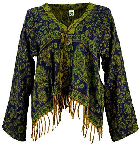 GURU SHOP Bolero Jacke, Legeres Jäckchen, Damen, Nachtblau/grün, Synthetisch, Size:40, Boho Jacken, Westen Alternative Bekleidung