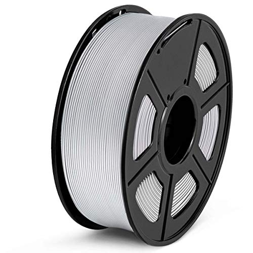 SUNLU PLA Filament 1.75mm 3D Printer Filament PLA 1kg Spool (2.2lbs), Dimensional Accuracy of +/- 0.02mm PLA Silver