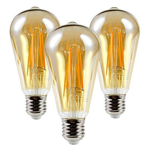 HOOBAY Bombilla LED vintage E27, 6 W, 2700 K, 600 lm, sin parpadeo, regulable, equivalente a 60 W, bombilla de cristal retro, ámbar, juego de 3