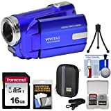 Vivitar DVR-508 HD Digital Video Camera Camcorder (Blue) with 16GB Card + Case + Tripod + Kit