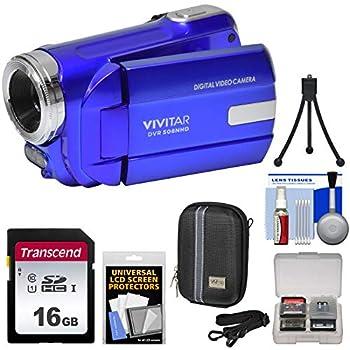 Vivitar DVR-508 HD Digital Video Camera Camcorder  Blue  with 16GB Card + Case + Tripod + Kit