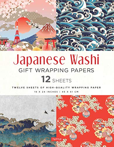 Japanese Washi Gift Wrapping Papers 12 Sheets: High-Quality 18 x 24 inch (45 x 61 cm) Wrapping Paper