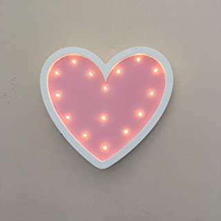 Heart Light Heart Sign Led Lights Heart Lamp Battery Operated Party Supplies Wall Decor Marquee Light Up Marquee for Living Room,Bedroom, Valentine Day Wedding Anniversary (Pink)