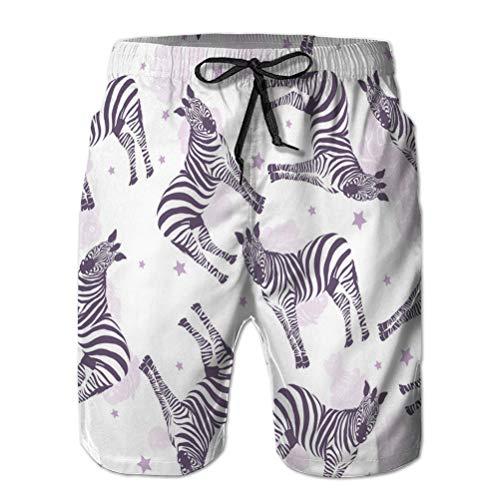 Shorts de Playa para Hombre con Bolsillos con Estampado de Cebra de Secado rpido Animal