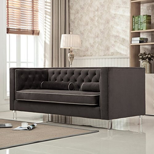 Christies Home Living Victoria Collection Contemporary Polyester Velvet Fabric Upholstered Button Tufted Living Room Tuxedo Sofa with 2 Lumbar Pillows and Clear Acrylic Legs, Brown