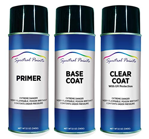 Spectral Paints Compatible/Replacement for BMW 668 Jet Black 12 oz. Aerosol Primer Spray Paint and Clear Coat