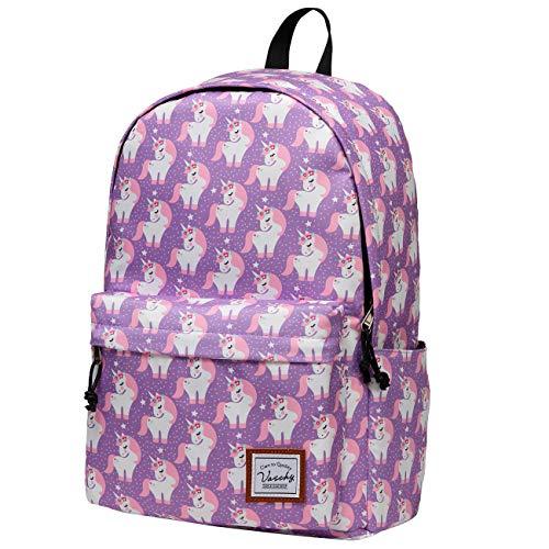 Schulrucksack Mädchen Teenager, VASCHY Wasserabweisend Rucksack Damen mit Gepolstertem 14 Zoll Laptopfach Schultasche für Jugendliche Hochschule Schulranzen Einhorn