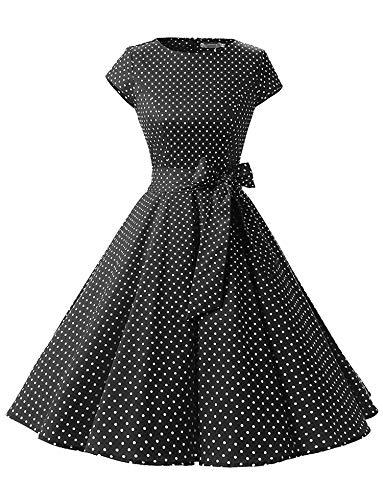 Women's Retro 1950's Retro Country Rock Ball Gown Cover Sleeves,Large,BlackWhiteDota