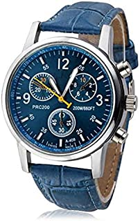 Bokeley Wristwatches, Men Watches,Mens Fashion Luxury Crocodile Faux Leather Stainless Steel Analog Watch (Blue)