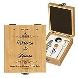 MURRANO Kit accessori da vino - Set Cavatappi da Vino Degustazione Perfetta Personalizzato - Scatola in legno di bambù + 4 pezzi di Accessori Vino - idee regalo per anniversario - Nozze