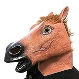 IWILCS Halloween Máscara de Cabeza de Caballo, Máscara de Caballo para Adultos, Máscara de Caballo de Látex, Máscara de Caballo para Halloween, Fiesta Disfraces, Carnaval, Juegos de rol (Marrón)