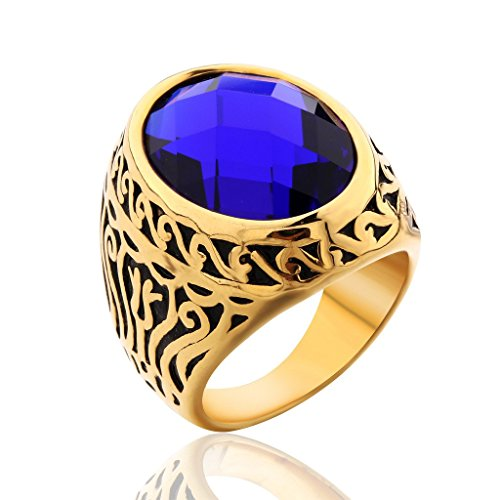 MASOP Jewellery Vintage Mens Stainless Steel CZ Ring Gold Biker Sapphire Color Blue Stone Size 9