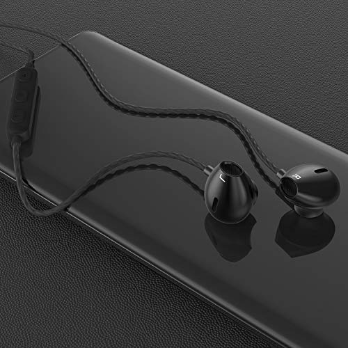 AzukiLife In-Ear Ohrhörer, bequemer Kopfhörer mit Stereoakustik Deep Bass, Gaming Kopfhörer mit Mikrofon Lautstärkeregler, Tanglefrei Sport Ohrhörer, für iPhone, Android, Laptop(schwarz)