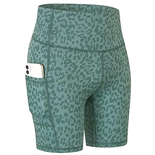 Huntrly Pantalones Cortos para Mujer Pantalones Cortos de Yoga Estampados a la Moda con Bolsillos Pantalones Cortos Deportivos elásticos y de Secado rápido cómodos y Ajustados XL