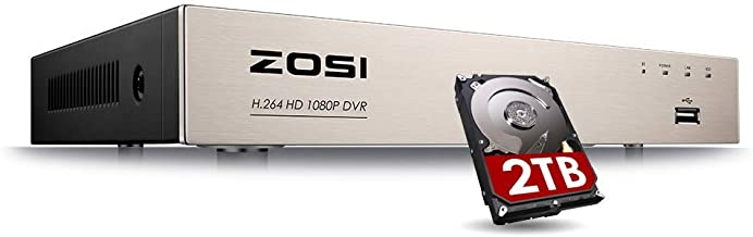ZOSI 8CH 4-in-1 1080P Surveillance DVR Recorders Security System for HD-TVI, CVI, CVBS, AHD 960H/720P/1080P CCTV Cameras, Motion Detection, Remote Viewing with 2TB Hard Drive
