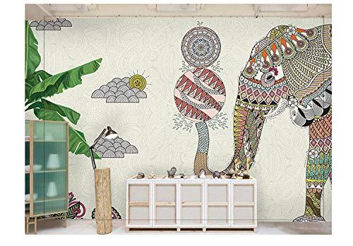 Gtfzjb Hotel Yoga Pavillon Thailändische Küche Restaurant Wandbild Elefant Tapete 3D Südostasiatischer Stil @ 336 * 255cm