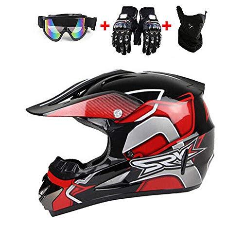 LJYFST Motocrosshelm voor kinderen en jongeren, met ECE ATV, motorfiets, quad, straat, motorfiets, volwassenen, offroad crosshelm S 53-54cm  Azul Y Amarillo