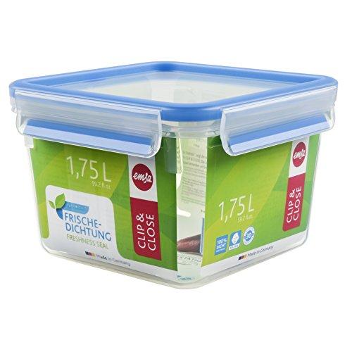 Emsa 508537 Food Square Contenitore con coperchio, 1,75 litri, trasparente / blu, Clip & Chiudi