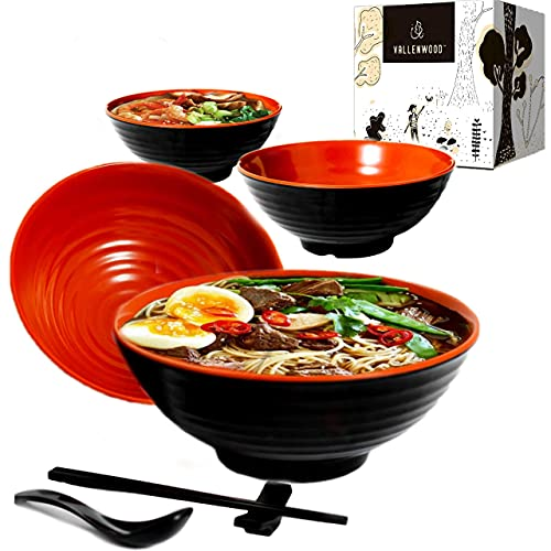 4 Ramen Bowl, 16 piece. Large Noddel Bowls Set. 37 oz Asian Chinese...