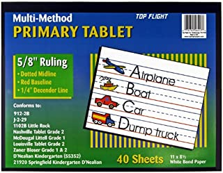 Top Flight Multi-Method 2nd Grade Primary Tablet, 5/8 Inch Ruling, Bond Paper, 11 x 8.5 Inches, 40 Sheets (56417), White