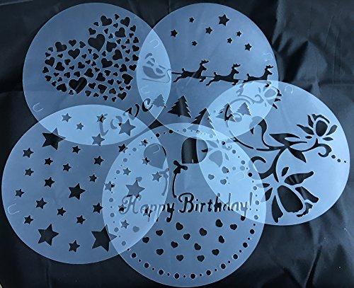 ROYAL HOUSEWARE Torten Schablonen Tatoo Kuchen Dekoration 5er Set Geburtstag Happy Bithday Frühling Blumen Herzen Muster Sterne Weihnachten Verzierung