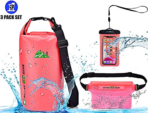 Dry Bags - Waterproof Backpack - Eco Friendly Waterproof Bag for Kayaking - Fishing, Swimming, Survival Gear, Boating,Travel, Storage for Camera & Camping Accessories Compression Sack Rose Pink 10L