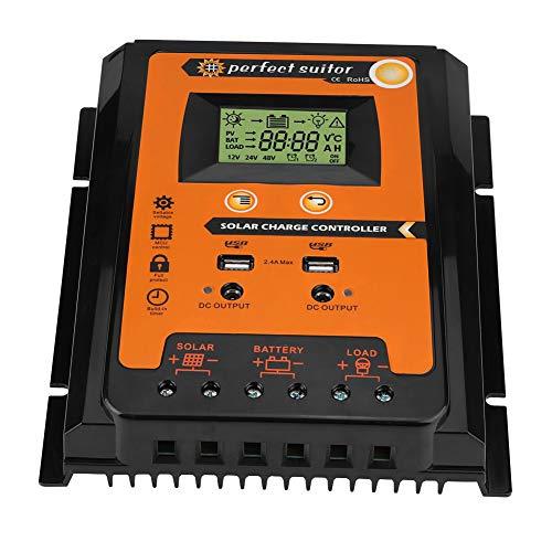 Regulador de Carga Solar MPPT, 30/50/70A Controlador con 2 Puertos USB para Placa Solar, Baterias(50A)
