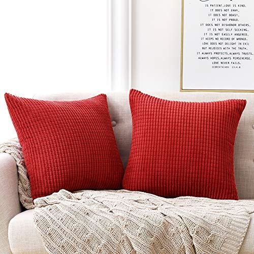 Deconovo Kissenbezug Kordsamt Zierkissenbezug Dekorativen Kissenhüllen Weiches Massiv Kissen für Sofa Couch Schlafzimmer, 50x50 cm, Hellrot, 2er Set