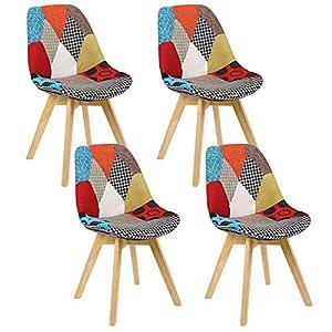 Design ergonomico: sedie ergonomiche con schienale, angoli e bordi arrotondati, più comodi per sedersi. Robusto e resistente: realizzato con legno massiccio e piedini in lino per una lunga durata, la struttura segue il principio scientifico. È robust...