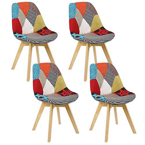 N/A Conjunto de 4 sillas de Comedor escandinavas Silla de Oficina tapizada con Tulipanes Retro con Patas de Roble Macizo y cojín de imitación de Cuero (Patchwork)